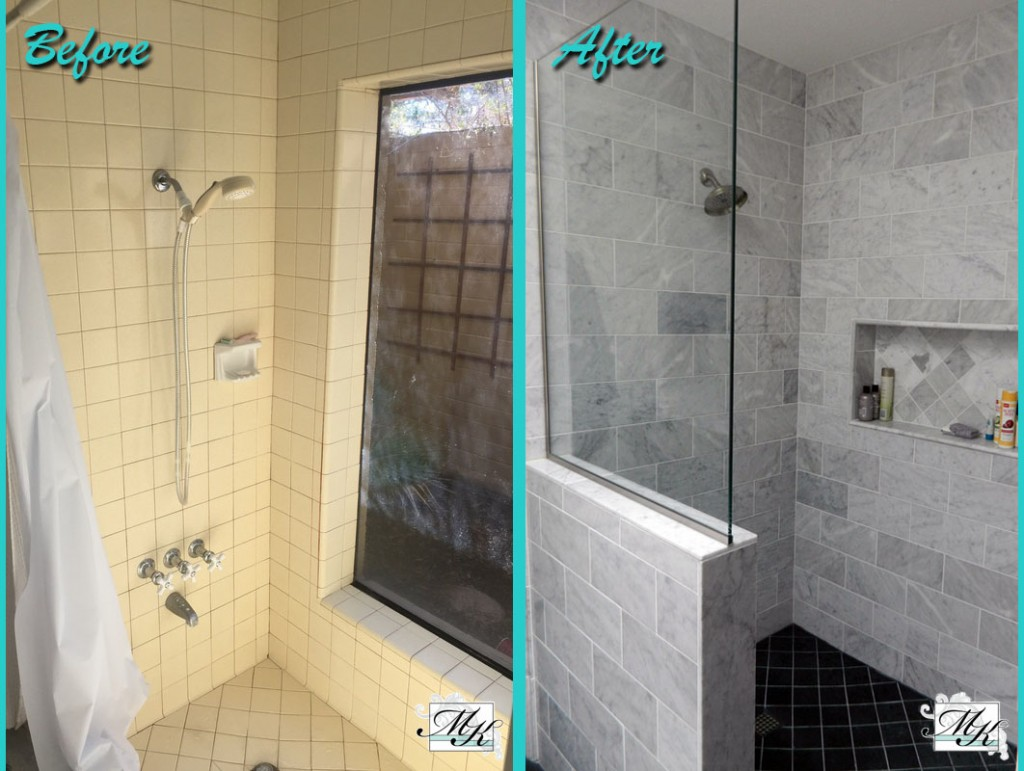 Bathroom Shower Remodel Before and After Photo Mesa